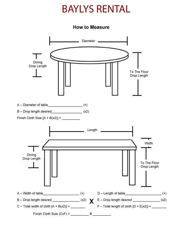 How To Measure Round Table.Tablecloths Baylysrental