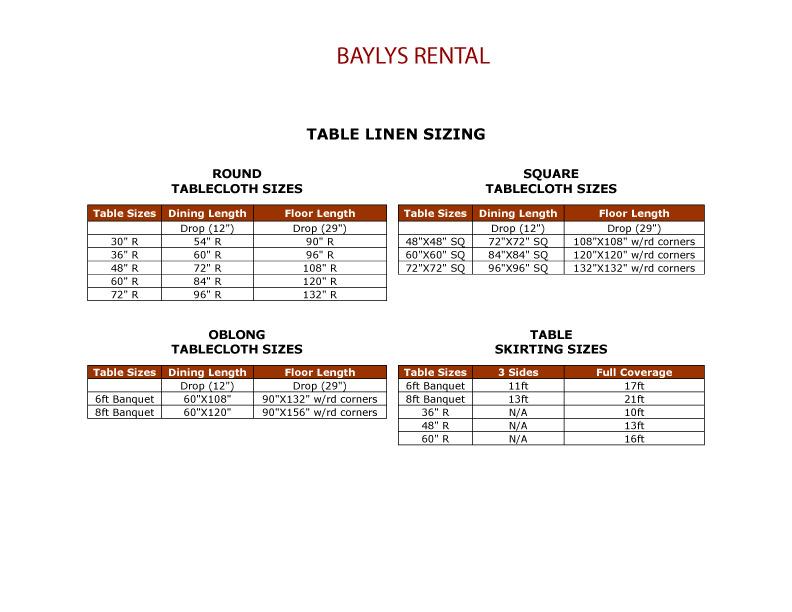 Table Linen Sizes